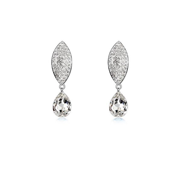 Austrian imitated crystal earrings - Leaves romance ( White ) 8855