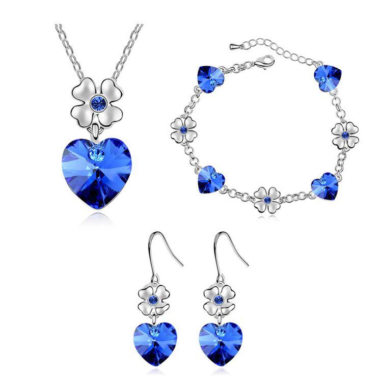 Austrian Imitated crystal Set - Dancing Heart ( Blue ) 8792