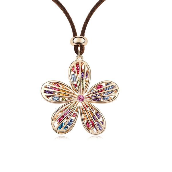 Austrian imitated crystal sweater chain - Starfish Flower ( Color + Champagne Alloy ) 8701