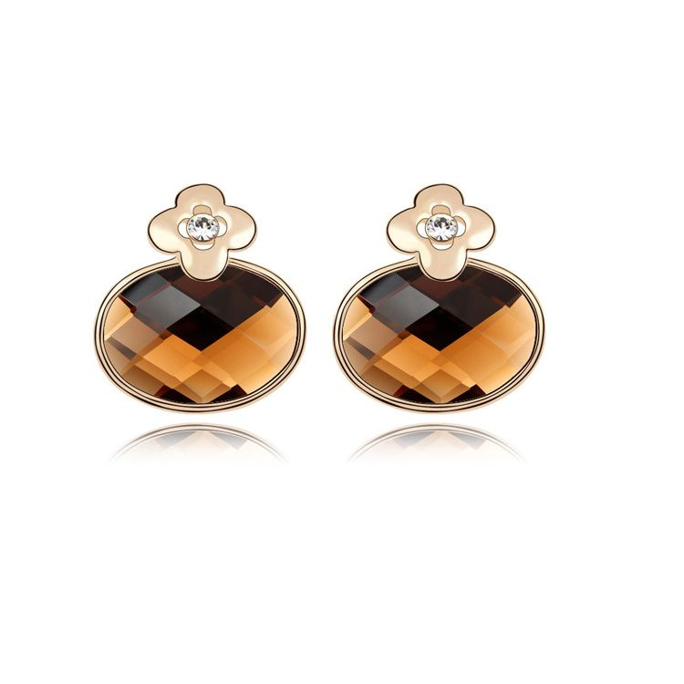 Alloy - Fresh flowers small boutique earrings ( Coffee ) 8675