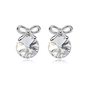 Austrian imitated crystal earrings - Sweet knot ( White ) 8641