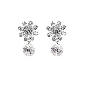Austrian imitated crystal earrings - Fireworks blossoms ( White ) 8532