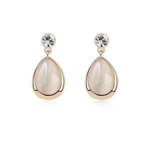 Alloy - Droplets opal earrings ( White ) 8410