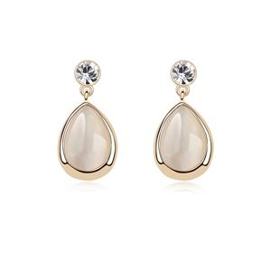 Alloy - Droplets opal earrings ( White ) 8410