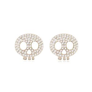 Austrian imitated crystal earrings - Skull Wizard ( White + Champagne Alloy ) 8373