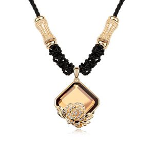 Alloy - Rose opened boutique sweater chain ( Coffee ) 8346