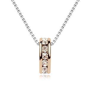 Austrian imitated crystal necklace  Edge set life  Rose Alloy  8326