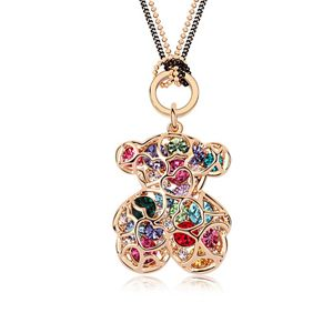 Austrian imitated crystal sweater chain - Winnie the Pooh ( Color + Champagne Alloy ) 8008