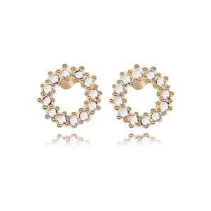 Austrian imitated crystal earrings - Happiness Circle ( White + Champagne Alloy ) 7883