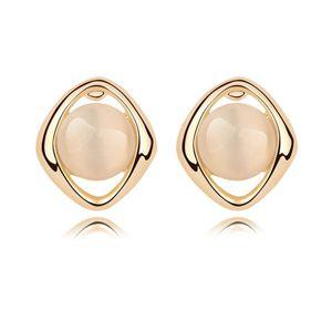 Alloy - Geometric round opal earrings ( White ) 7516