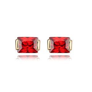 Alloy - Midsummer Love zircon earrings ( Red ) 7482