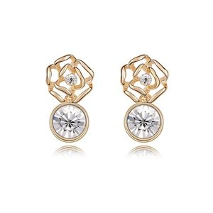 Austrian imitated crystal earrings  Rose Tears  White + Champagne Alloy  7367