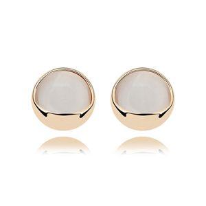 Alloy - Round buckle opal earrings ( White ) 7263