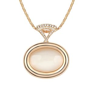 Alloy - Oval opal necklace ( White ) 7258
