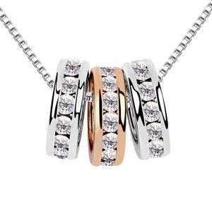 Austrian imitated crystal necklace - Sansei edge set ( White ) 7208