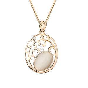 Alloy  Elegant flower vine sweater chain opal  White  7154
