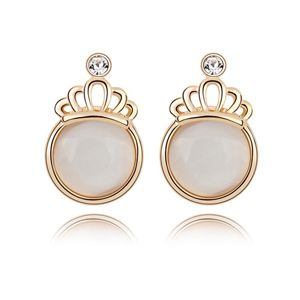 Alloy - Crown opal earrings temperament semicircle ( White ) 7149