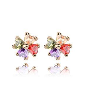Alloy - Sweet Clover zircon earrings ( Color ) 7132
