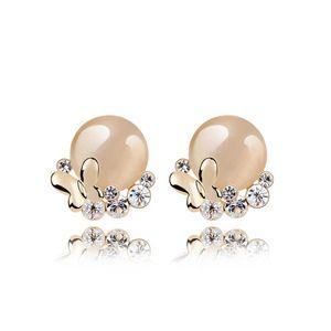 Alloy - Butterflies opal earrings ( White + Champagne Alloy ) 7117