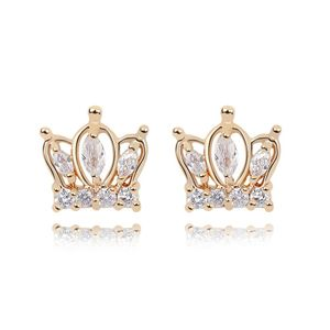 Alloy  Crown Princess Cubic Zirconia Stud Earrings  White  7054