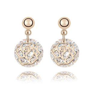 Alloy  Rose Heart Cubic Zirconia Stud Earrings  White  7036