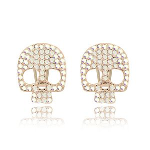 Alloy imitated crystal earrings imported - Skull ( Color White ) 7027