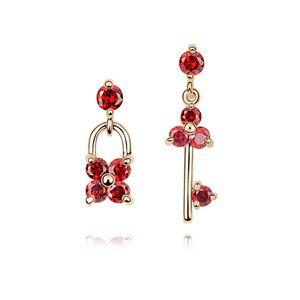 Alloy - Petals key zircon earrings ( Red ) 7021