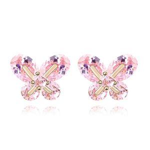Alloy - Small butterfly earrings zircon ( Pink ) 7017