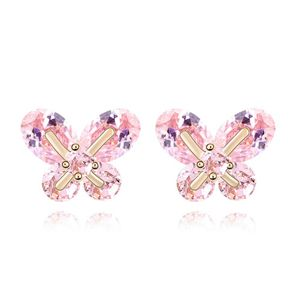 Alloy - Small butterfly earrings zircon ( Pink ) 7017