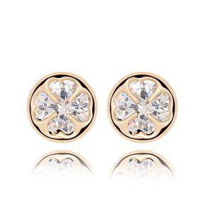 Alloy - Four-leaf flower zircon earring ( White ) 6994