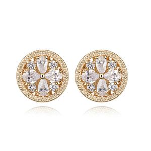 Alloy - Daisy flowers zircon earrings ( White ) 6991