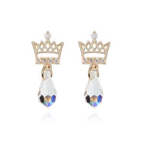 Austrian imitated crystal earrings  Crown droplets  White + Champagne Alloy  6843