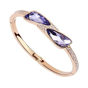 Austrian imitated crystal bracelet  Moon Lake  Tanzanite + Rose Alloy  6789