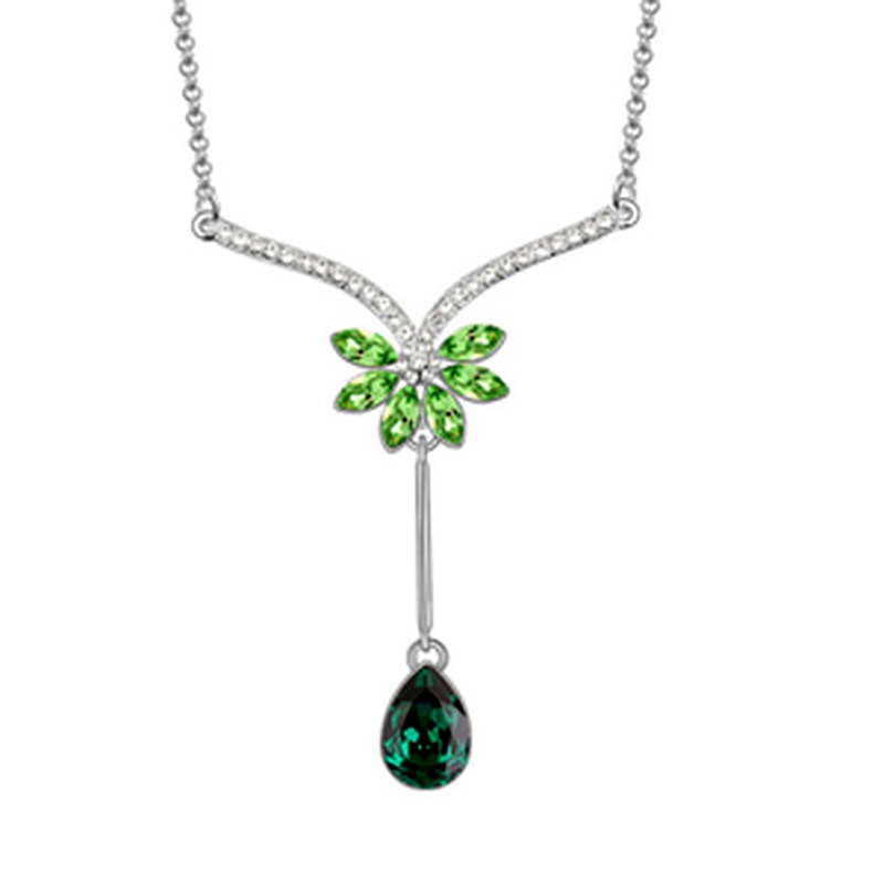 Austrian imitated crystal sweater chain - Waterlilies ( Olives ) 6738