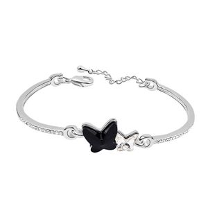 Austrian imitated crystal bracelet  Butterflies dancing  Black  6683