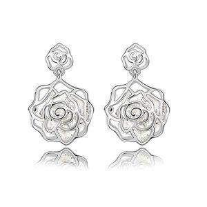 Retro fashion  Rose Flower Earrings  White  6660