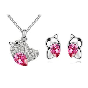 Austrian Imitated crystal Set - Lovebirds ( Rose ) 6622