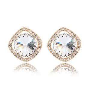 Austrian imitated crystal earrings - Stone ( White + Rose Alloy ) 6610