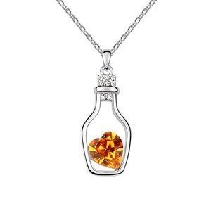 Austrian imitated crystal necklace  Wishing bottle  Citrine  6584