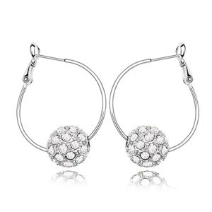 Austrian imitated crystal earrings  Colorful ball  White  6347