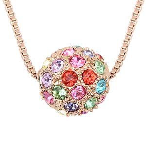 Austrian imitated crystal necklace - Colorful ball ( Color + Rose Alloy ) 6341