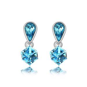 Austrian imitated crystal earrings  Happy Cube  Navy blue  6039