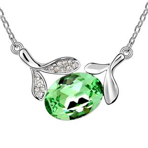 Austrian imitated crystal necklace  Tian Mei leaves  Olives  6227