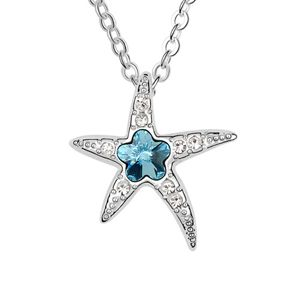 Austrian imitated crystal necklace  Starfish Wizard  Navy blue  5980