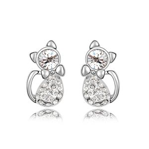 Imitated crystal Earrings - Nice cat ( White ) 5952