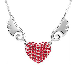 Imitated crystal Necklace  Fly together  Light red  5910