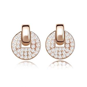 Imitated crystal Earrings - Half Moon Bay ( Rose Alloy + White ) 5557