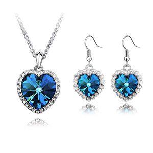 Titanic Memorial Necklace Earrings Set - Heart of Ocean 5533