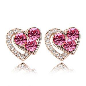 Austrian imitated crystal earrings - Heart  s edge ( Rose ) 5073
