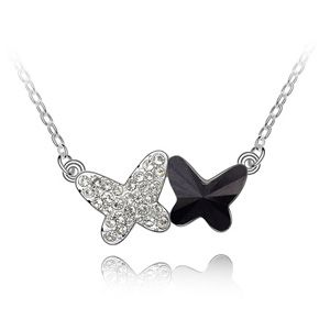 Austrian imitated crystal necklace - Dual Splendor ( Black ) 4673